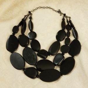 Chicos Black Cascade wood/crystal bead necklace